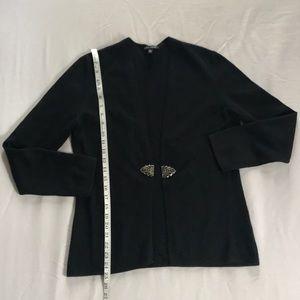 Anne Klein 100% cashmere cardigan with brooch